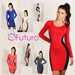 Nuevo-Clasico-optico-Reductor-Mujer-Vestido-Cenido-Cuello-Redondo-Tallas-8-18