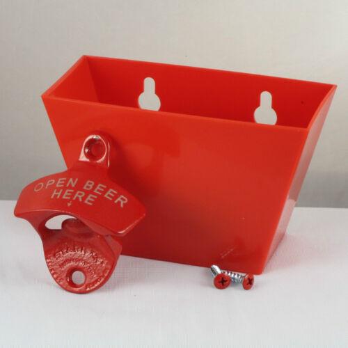 Red Plastic Catcher Red OPEN BEER HERE Combo Starr X Wall Mount Bottle Opener