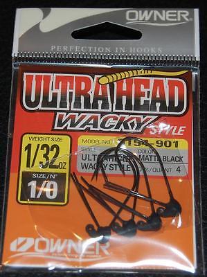 OWNER Ultra Head Wacky Style Type 5154-901 Size 1/0 Hooks 1/32 oz Weight 4  pack   eBay
