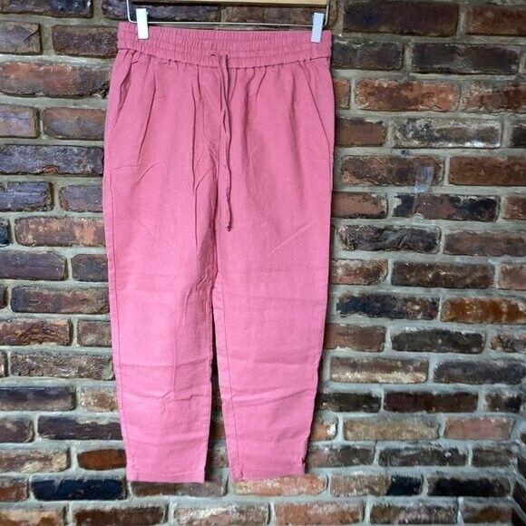 J. Crew Pink Linen Cotton Drawstring Pants Women'… - image 1