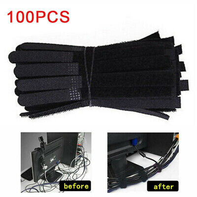 50x Reusable Cable Ties Nylon Wrap Strap Cable Cord Ties Tidy Organiser Durable