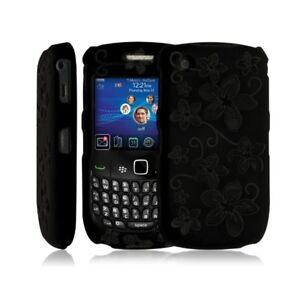 Housse-coque-rigide-pour-Blackberry-Curve-8520-couleur-noir-avec-motif-fleur-f