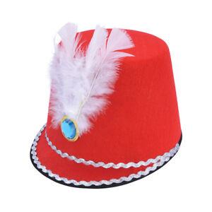 Femmes-Rouge-Majorette-Chapeau-avec-Plume-Deguisement-Soldat-Jouet-Accessoire