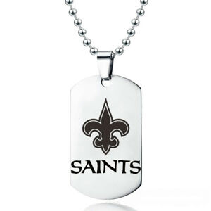 New-Orleans-Saints-Football-Team-Stainless-Steel-Pendant-20-034-Chain-Necklace