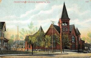 Presbyterian-Church-Marinette-Wisconsin-1911-Vintage-Postcard
