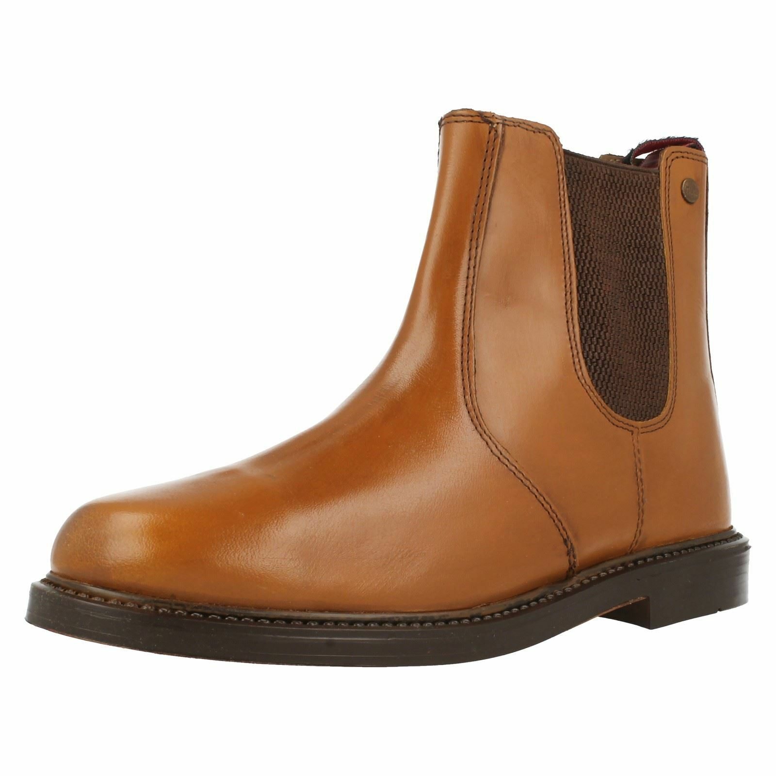 Mens HX London HX05 Tan Leather Chunky Chelsea Boots
