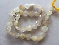 14 Strand Golden Rutilated Quartz Gemstone Faceted Drop Nugget Beads 9mm-11mm
