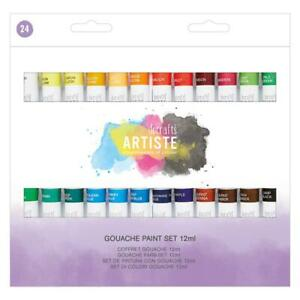 DOCRAFTS-ARTISTE-GOUACHE-PAINT-SET-24-x-12ml-TUBES-ART-PAINTS