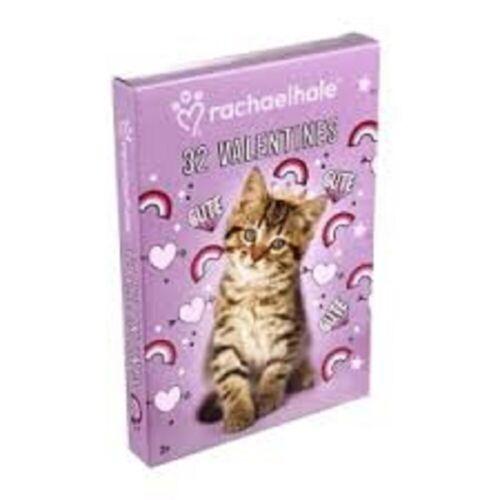 RACHAEL HALE KITTEN PUPPY Valentines Day Friendship Cards Box of 32 Cards NEW