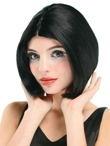Adult Black Short Bob Wig With Parting Posh Spice Pop Star Fancy Dress Accessory