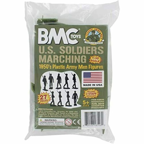 BMC Marx Plastic Army Men Marching US Soldiers Green 27pc WW2 Figures Made