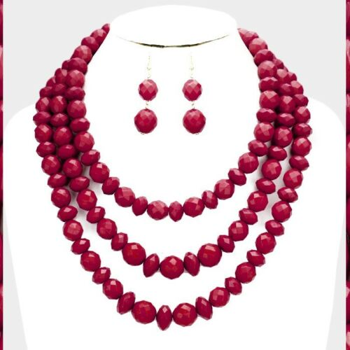 Statement Multi Layered 3 Row Strand Beaded Chain Necklace Earrings Matte Chunky