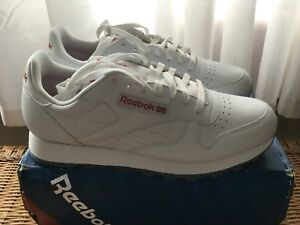 Mens Reebok Classic Leather Ice White Red Clear Sole Size 11.5 New ... e0776328f