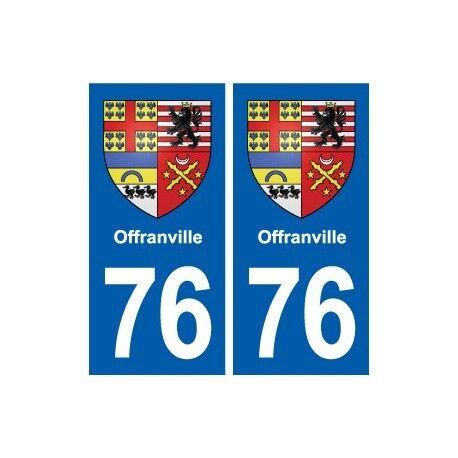 76 Offranville blason autocollant plaque stickers ville -  Angles : droits