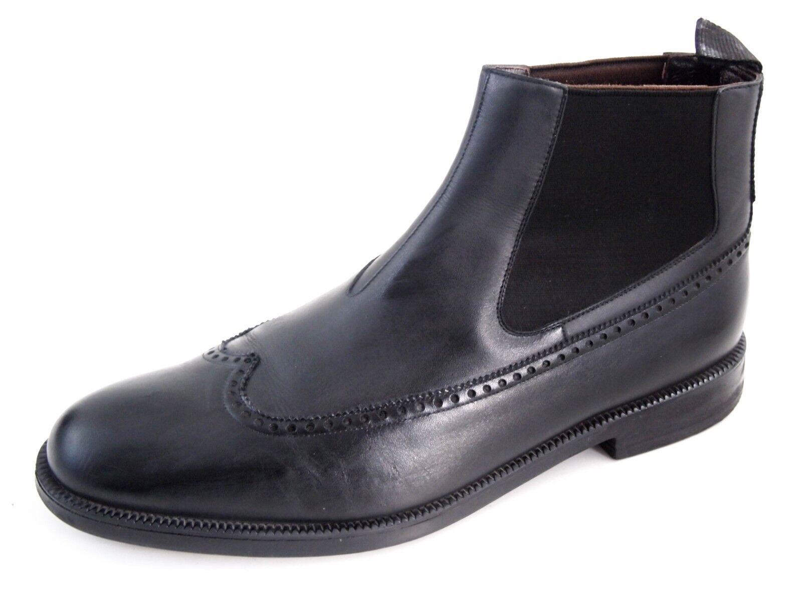 A.Testoni Chelsea-Stiefeletten, schwarzes Leder, Herrengröße UK 9.5 EU  750