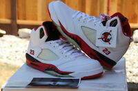 Nike Men's 2006 Air Jordan V 5 Retro White/Fire Red-Black SZ 10.5 - (136027-162)