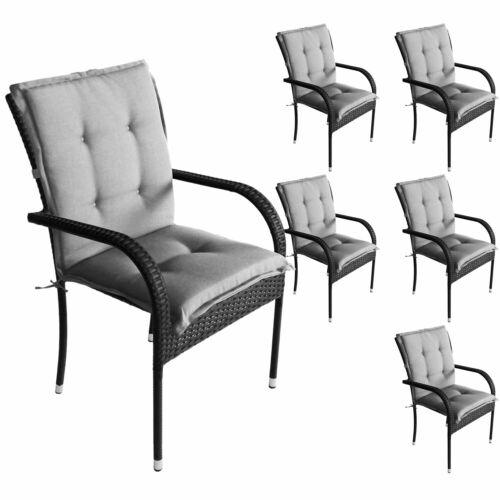 6er Set Komfort Sitzauflage Niedriglehner 103x49x5cm /& Wasserbeständig Grau UV