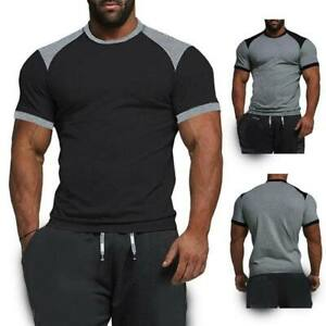 Men-039-s-short-sleeve-slim-fit-casual-muscle-tee-t-shirts-tops-o-neck-summer-blouse