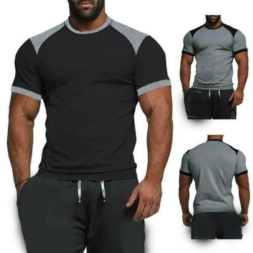 Men/'s short sleeve slim fit casual muscle tee t shirts tops o neck summer blouse