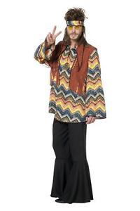 Hippiekostüm 70er 80er Jahre Hemd Kostüm Flowerpower Herren Hippie Party Disco