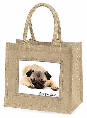 Mops Hund 'Liebe dich Papa' Stimmung Große Natürliche Jute-einkaufstasche Chri,