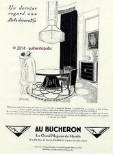 PUBLICITE AU BUCHERON GRAND MAGASIN MEUBLES SIGNE R VINCENT ART DECO DE 1925 AD