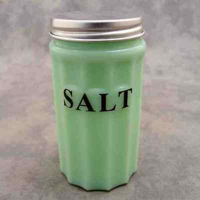 JADEITE GREEN GLASS SALT CANISTER w/ Metal Lid ~ COLUMN DESIGN ~ BLACK LETTERS ~