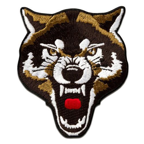 Aufnäher // Bügelbild Patches Aufbügeln Wolf Tier 7x8,3cm braun