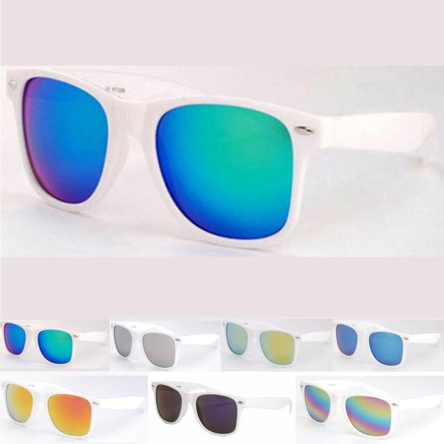 Unisex Classic Retro Wayfarer Sunglasses Stylish Eyewear White Frame Mirror Lens