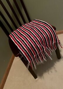New-Afghan-Throw-Handmade-Gray-White-Red-amp-Black
