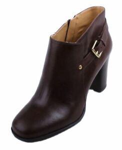Nine-West-Effia-Womens-Dark-Brown-Leather-Ankle-Heel-Booties