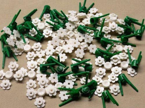 34x Lego city white flowers for house and garden