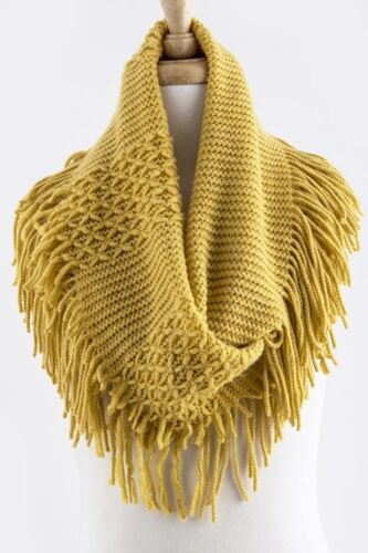 CROSS PATTERN KNITTED INFINITY SCARF WITH LONG FRINGE