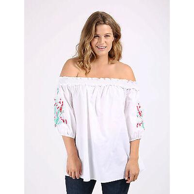Koko Women's Plus Size White Embroidered Sleeve Bardot Top