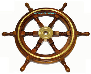 Image Is Loading 24 034 Wooden Ship Wheel Maritime Captain Pirate
