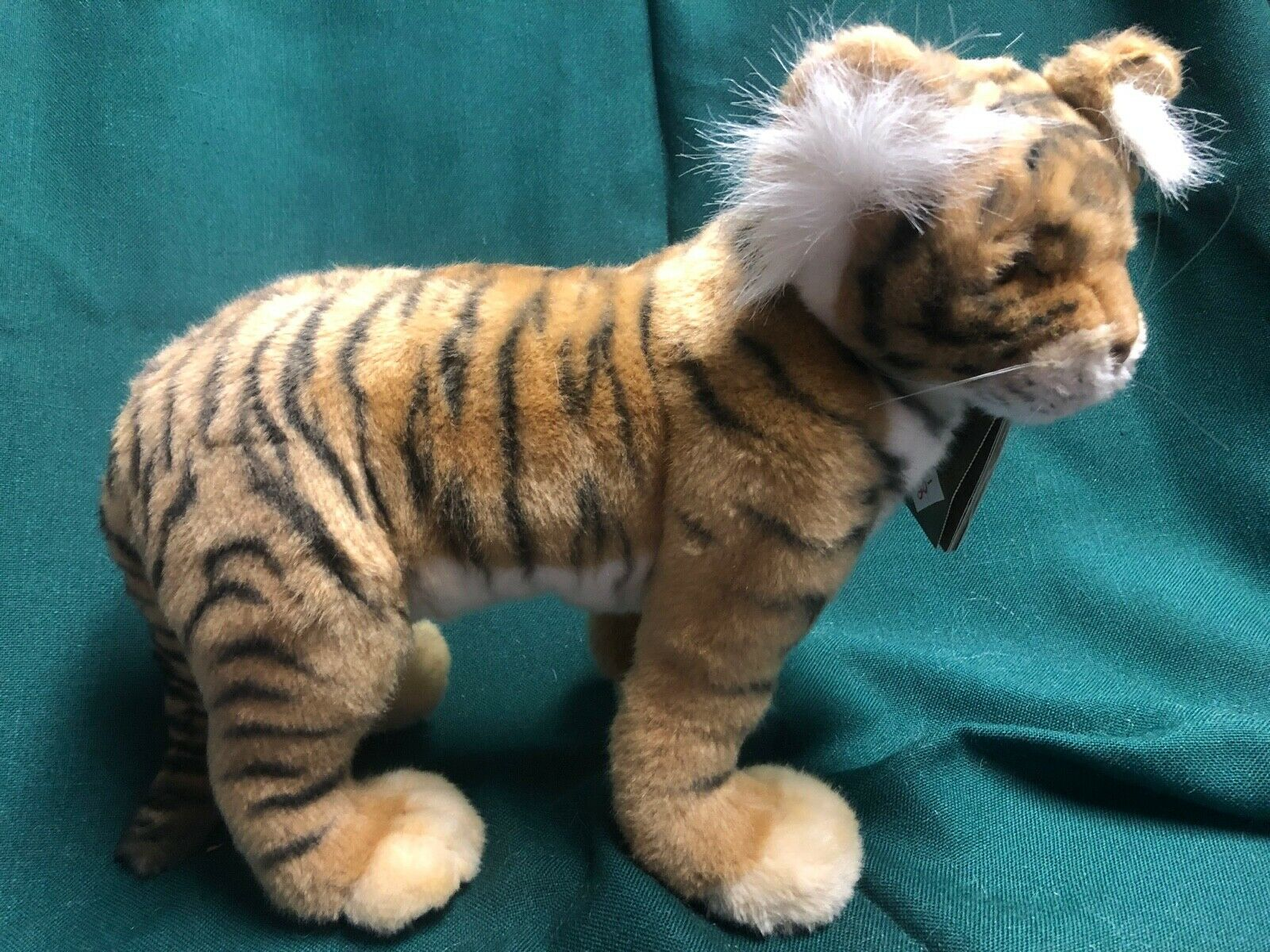 HANSA Stuffed Animal Plush Realistic Wild Cat Standing Tiger Cub 4264 Posable