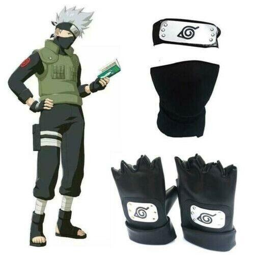 Anime Naruto Hatake Character Kakashi Headband Face Mask Gloves Weapon Pack