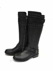 fac41ea478b Details about UGG Australia Dayle Women's Black Leather Stud Riding Boots  US 5.5/ EU 36.5 $395