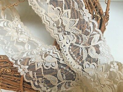 "Beautiful Superb Quality 6/""//15 cm Black Flat Galloon Lace Trim.Sewing//Lingerie"