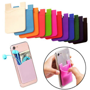 the best attitude 4658f 2d26a Details about Adhesive Silicone Credit Card Pocket Sticker Pouch Holder  Case For Cell Phone