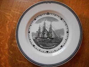 Wedgwood-Nightingale-American-Clipper-Ship-series-creamware-9-034-plate-ca-1950-039-s