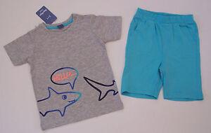 Sommerzweiteiler-T-Shirt-Sweatshort-Bermuda-grau-tuerkis-Gr-92-Neu-mit-Etikett