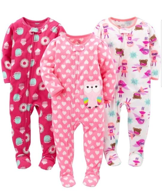 aa7f61403 Simple Joys Carter s Baby Girls  3pack Flame Resistant Fleece Footed ...