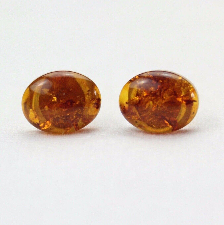 Natural Baltic Amber 8mm x 10mm Oval Studs Earrings orange Amber