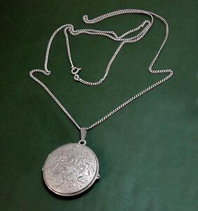 Grosses-altes-835er-Silber-FOTO-MEDAILLON-floral-lange-Silberkette