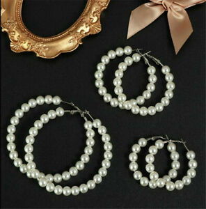 Chic-Women-Crystal-Pearl-Circle-Statement-Drop-Earrings-Dangle-Wedding-Gift-New