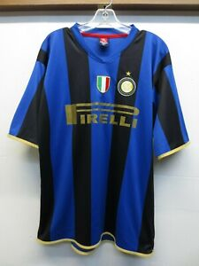 sale retailer e2d3d 5e470 Details about EUC Authentic Sports Pirelli Inter Milan Blue Black Striped  Soccer Jersey Sz XL