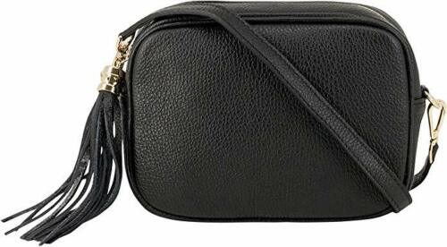 Womens leather compact cross body camera style bag with tassel detachable strap