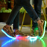 Led Flashing Light Shoes Lace Up Luminous Trainers Usb Charger Casual Sneakers