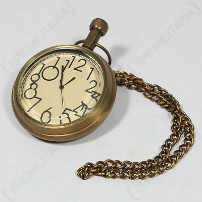 VINTAGE POCKET WATCH - Battery Powered Chain Clasp Large Numbers Steampunk New